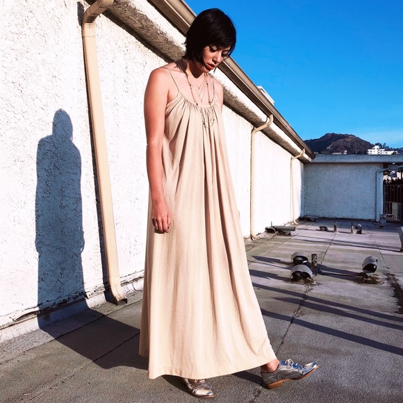 f2306fcc5e0 Dresses   Skirts - 70s Grecian Draped Nude Boho Hippie Maxi Dress S M